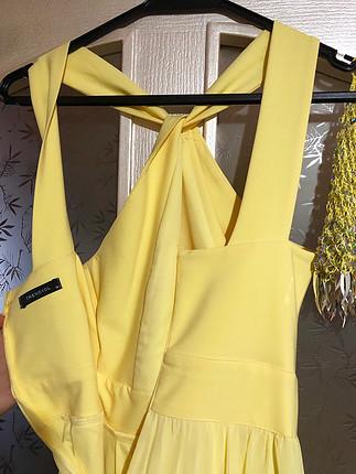 m Beden sarı Renk Abiye uzun elbise