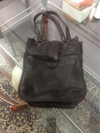 Kahverengi kol çantası hakiki deri