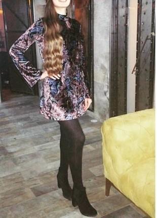 l Beden çeşitli Renk şal desenli kadife elbise