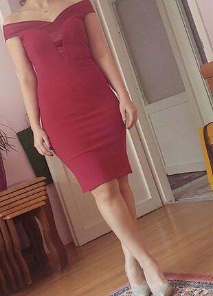 Trendyol & Milla Bordo elbise