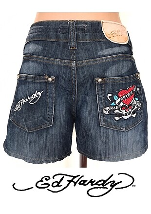 ED HARDY VINTAGE TATTOO WEAR MAVİ DENİM KOT ŞORT