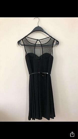 Diğer Siyah kemer detaylı elbise