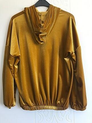 l Beden altın Renk Bayan Sweatshirt Parlak Renkli Yazılı