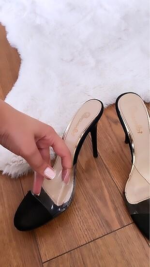 Bambi Bambi marka şeffaf ince topuk ayakkabı