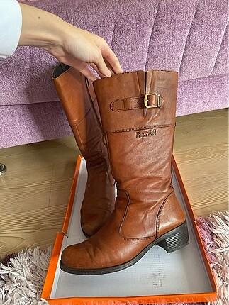 Kahverengi gerçek deri çizme