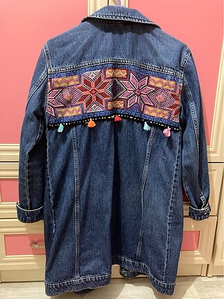 Uzun kot ceket arkası etnik desenli