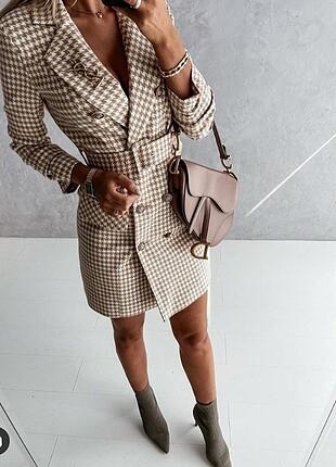 ?????model-7234 ????269,90? ????Kazayağı Desen Ceket Elbise ???