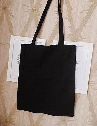Siyah gabardin bez çanta
