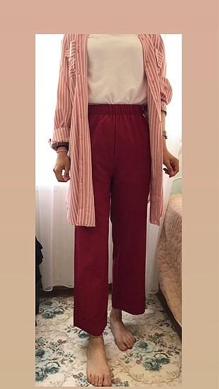 Kırmızı kalın krep pantolon