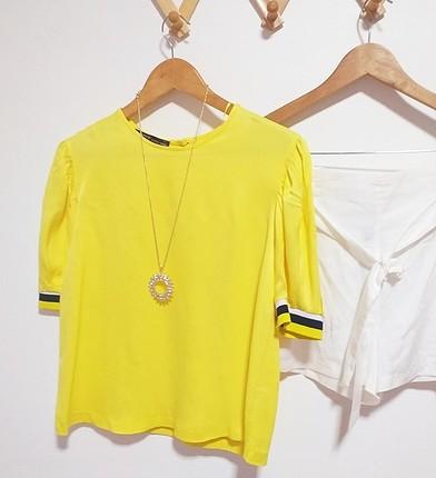 s Beden sarı Renk twist saten bluz
