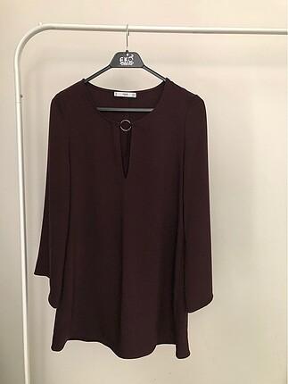 Mango Kolları Volan Detaylı Kahverengi Elbise