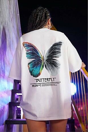 Beyaz Butterfly Sırt Baskılı Oversize Tişört