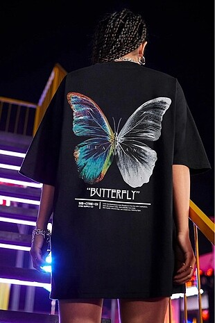 Siyah Butterfly Sırt Baskılı Oversize Tişört