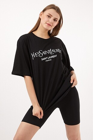 Siyah Yves Saint Laurent Oversize Tişört
