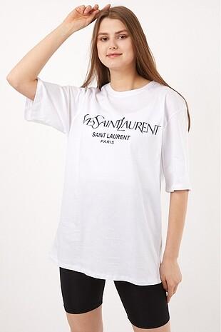 Beyaz Yves Saint Laurent Oversize Tişört