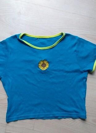 Papatya Detaylı Mavi Crop / Bluz