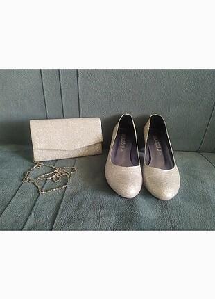 Simli abiye ayakkabı çanta takımı