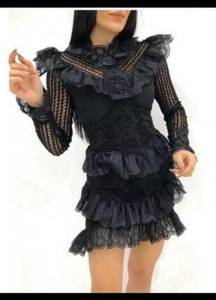 tasarım siyah güpür elbise