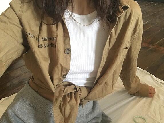 Vintage Sloganlı Gömlek