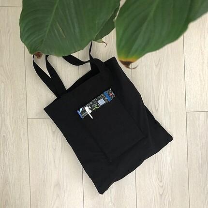 Siyah Cepli Bez Çanta