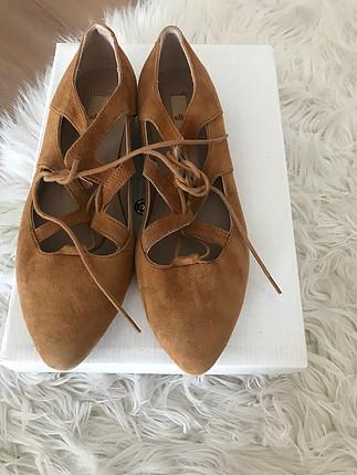 Elle taba süet ayakkabı sandalet