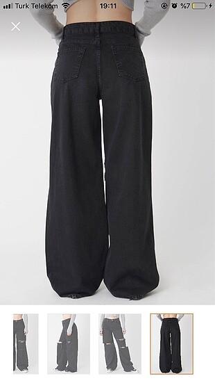 40 Beden siyah Renk wide leg jean