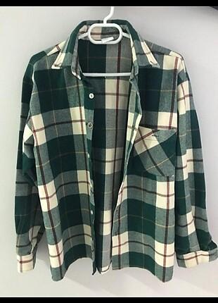 Vintage yeşil ekoseli gömlek