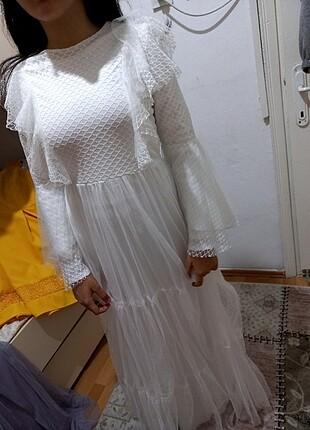 s Beden beyaz Renk Beyaz elbise