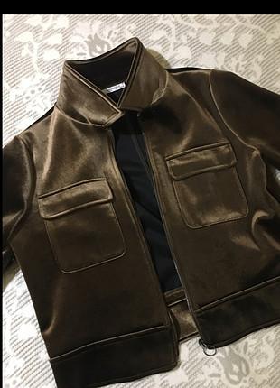 m Beden bronz Renk ZARA kadife ceket