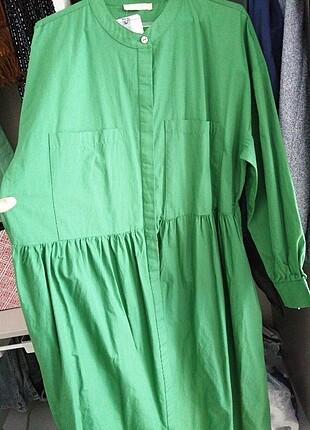 44 Beden yeşil Renk Büyük beden sıfır elbise
