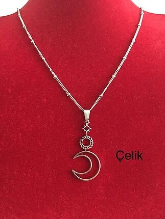 Güneş ay ve yıldız detaylı çelik kolye