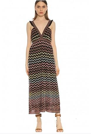 Missoni askılı çok renkli elbise