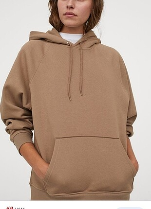 H&M kahverengi sweatshirt s beden etiketi üzerinde