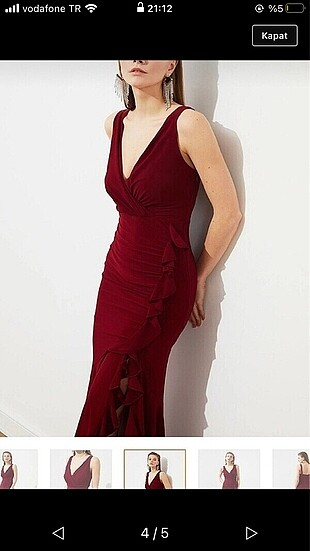 l Beden bordo Renk Abiye elbise