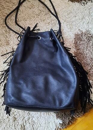 Suni deri siyah omuz/sırt çantası