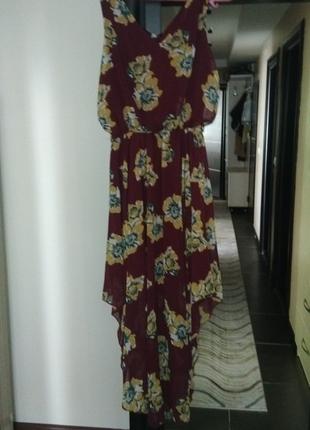 Asimetrik dokumlu elbise