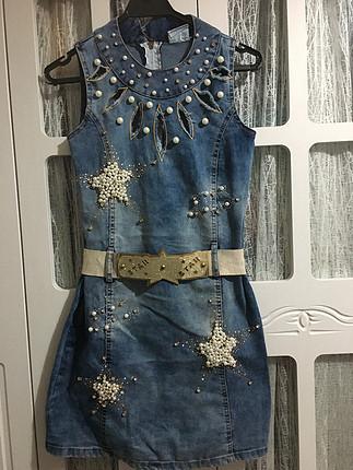 Taş işlemeli kot elbise