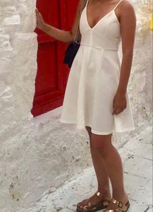 s Beden beyaz Renk Beyaz askılı şık elbise