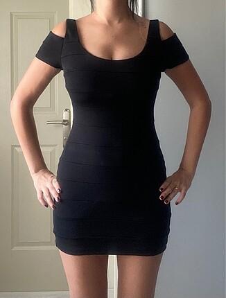 Forever new marka, siyah mini sırtı pencereli elbise