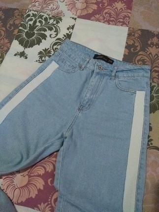 Şeritli mom jean