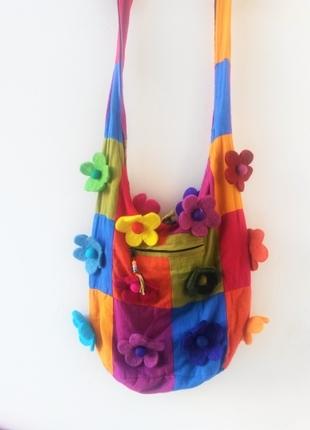 Çİçekli hippi çanta