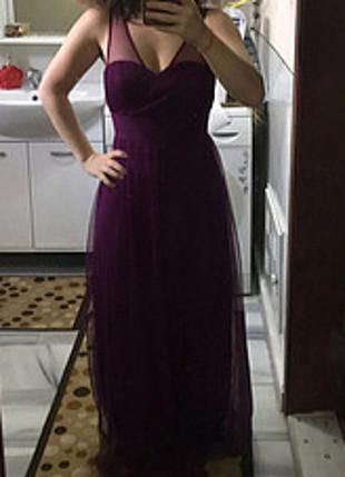 Uzun mor tül detaylı elbise
