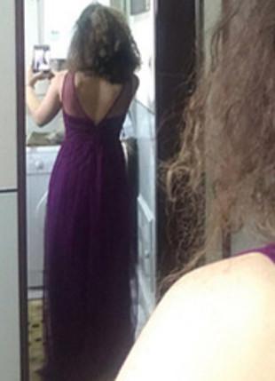34 Beden Uzun mor tül detaylı elbise