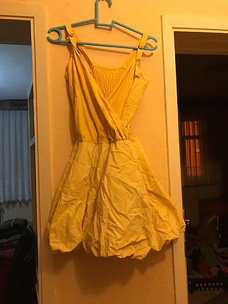 Sarı balon elbise