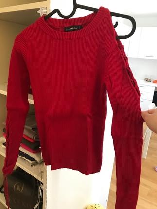 Zara Kırmızı Uzun Kollu Kol Detaylı