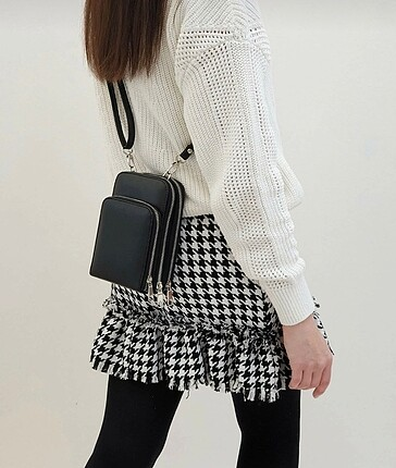 Marjin siyah askılı çanta