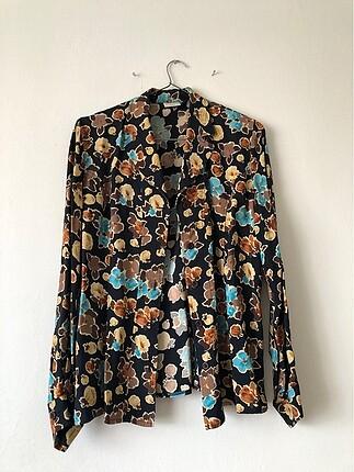 Desenli vatkalı vintage gömlek