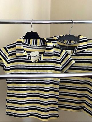 Cizgili v yaka T shirt
