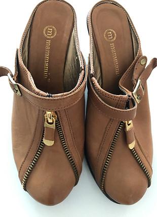 Mammmamia gercek deri taba dolgu topuk terlik ayakkabi