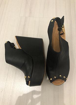 Oz ayakkabi deri siyah plarform topuklu sandalet